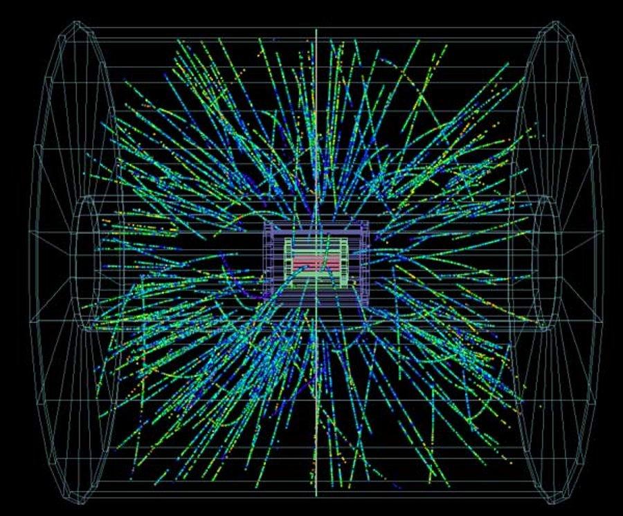 Protonai dužta su švino branduoliu padarydami dalelių lietų ALICE detektoriuje. ATLAS, CMS ir LHCb taip pat registravo susidūrimus šiandien ryte